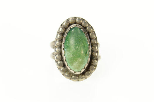 Sterling Silver Southwestern Native American Turquoise Oval Ring, Size 4.25
