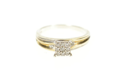 Sterling Silver Squared Diamond Cluster Promise Engagement Ring, Size 7.25