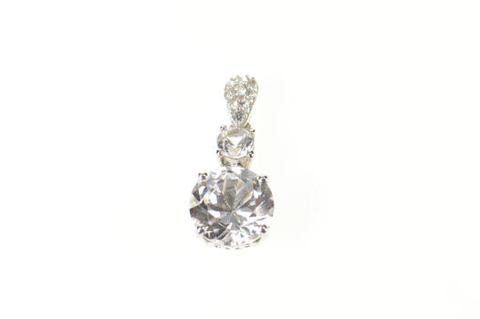 Sterling Silver Tiered Classic Cubic Zirconia Drop Pendant