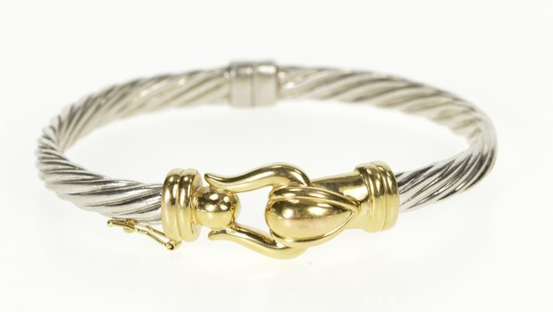"Sterling Silver Two Tone Buckle Design Twist Bangle Bracelet 7.5"""