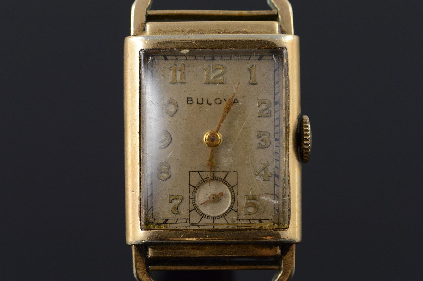 10 Gold Filled Vintage Bulova 32x22mm Square Mechanical ...