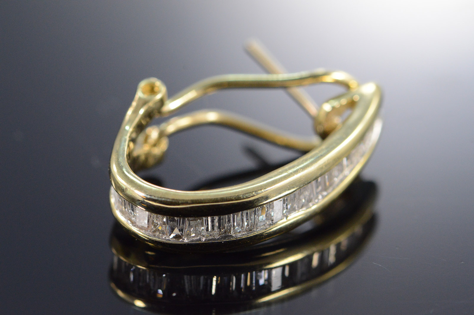 Image 1 Of 4 Free Shipping 10k 0 75 Ctw Baguette Diamond French Clip Yellow Gold Earrings