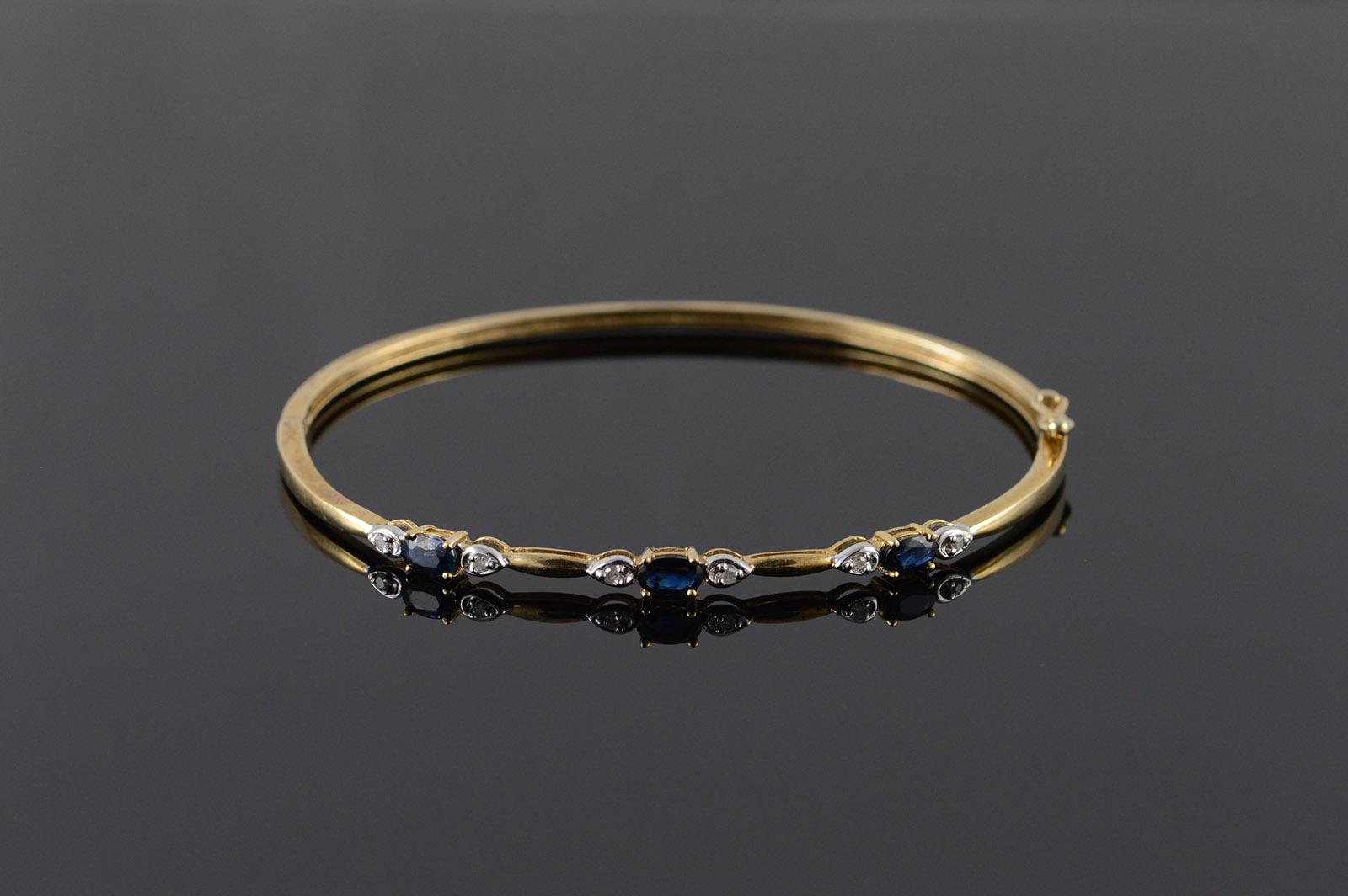 10k 0 80 Ctw Sapphire Diamond Hollow Bangle Yellow Gold Bracelet 2 3