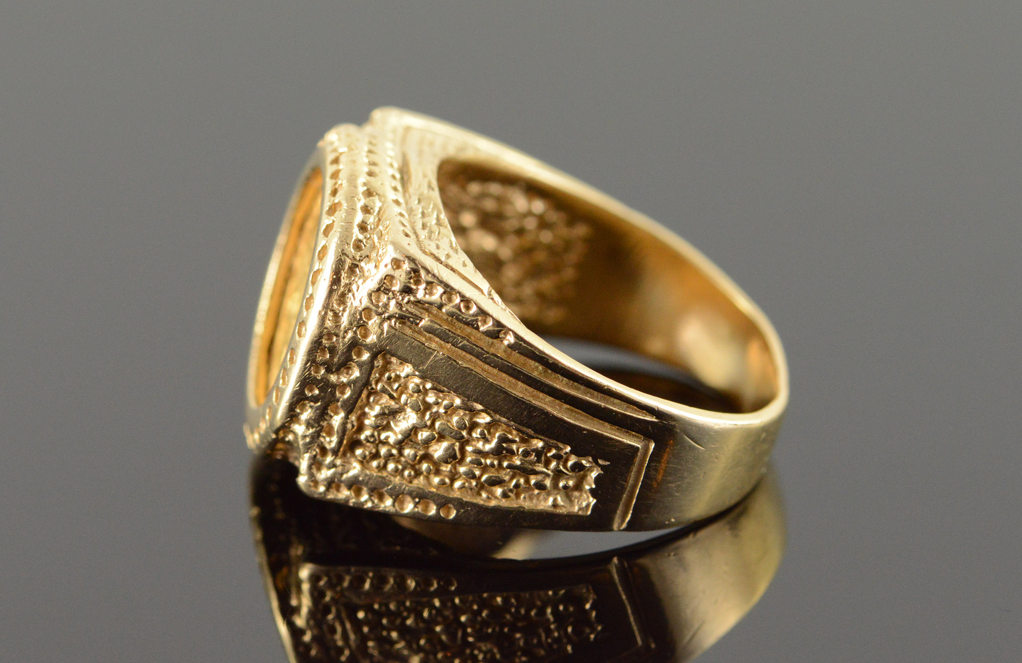10k 11 1g 1945 Dos Peso Mexico Mexican Vintage Detailed Yellow Gold Ring Size 7 75