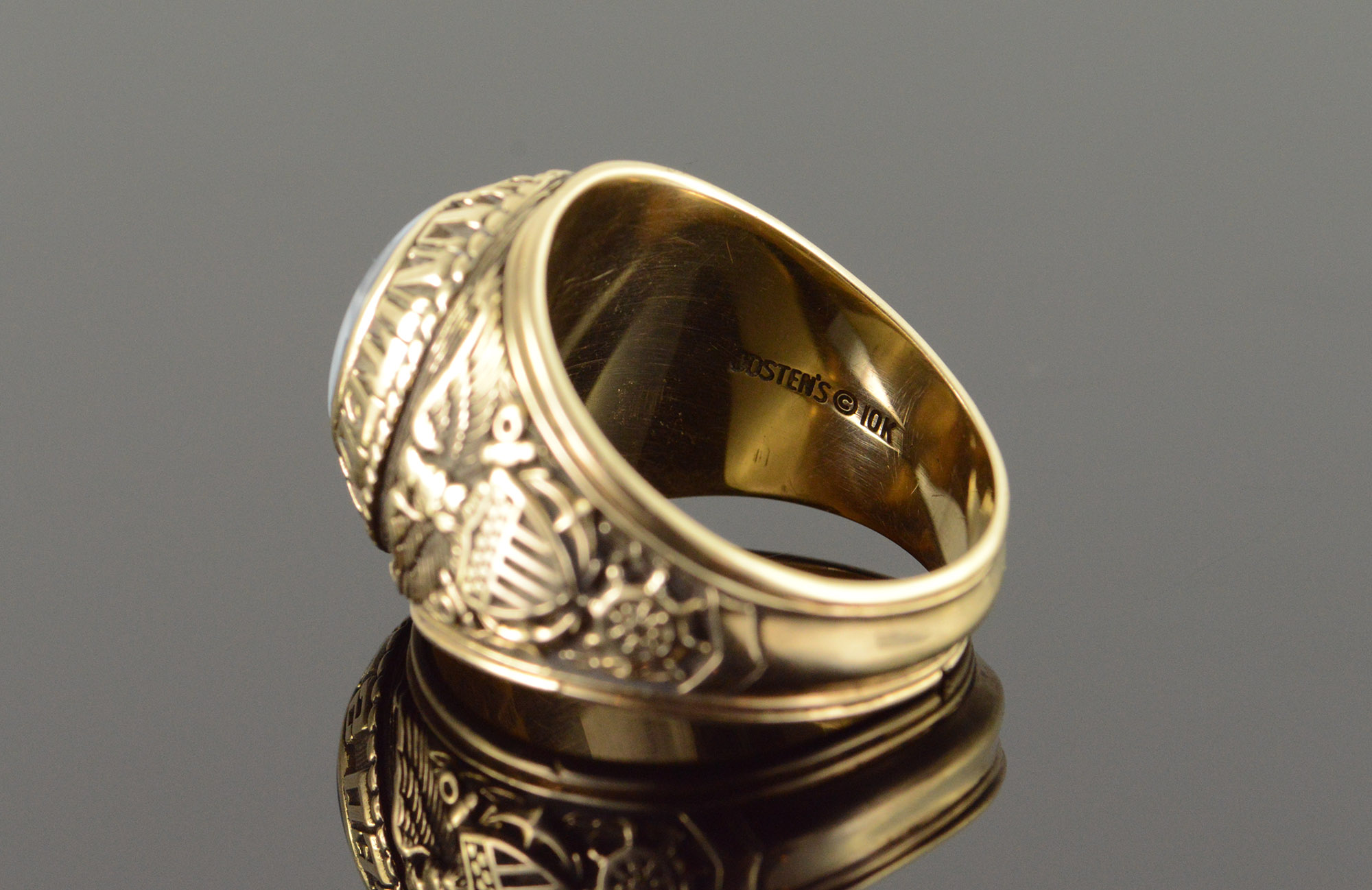 10k 16 7g United States Navy Class Graduate Military Naval Academy Yellow Gold Ring Size 11 25