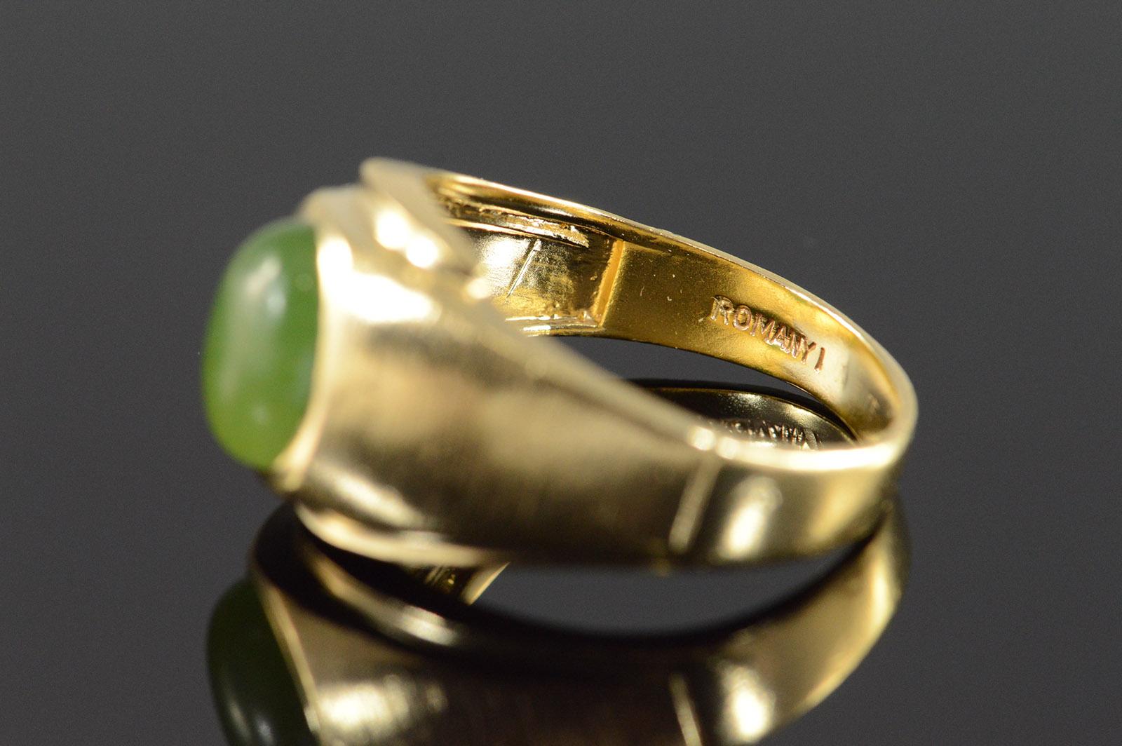 10k 5 2g 2 00 Ct Jade Cabochon Men S Yellow Gold Ring
