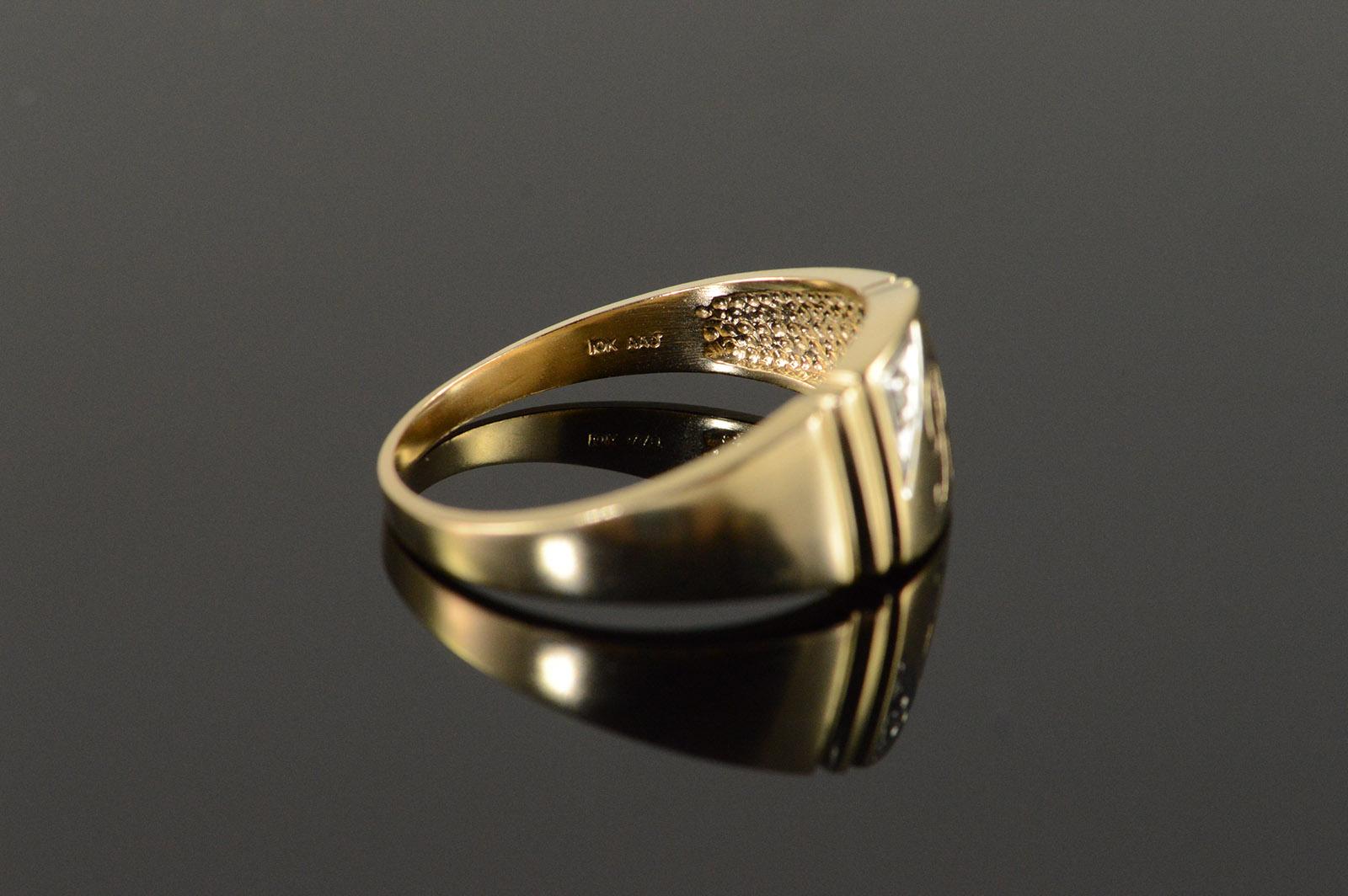 Gold Initial Ring Mens