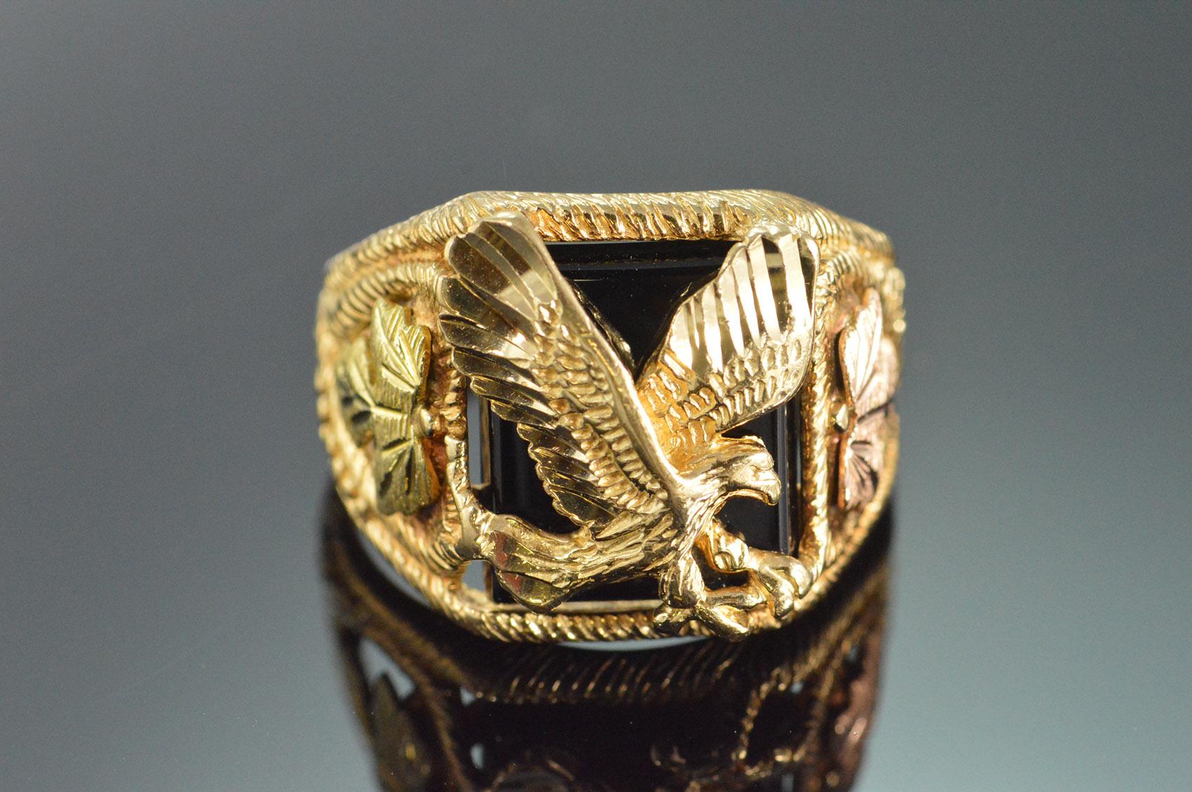 10k 7 7g Black Onyx Black Hills Eagle Men S Yellow Gold