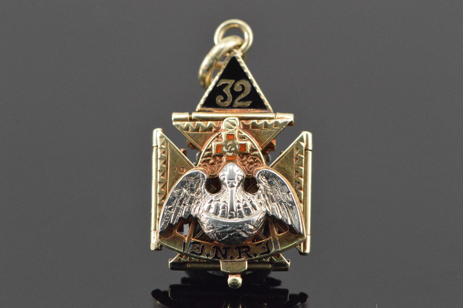 10K Expandable Mason Masonic Eagle Puzzle Yellow Gold