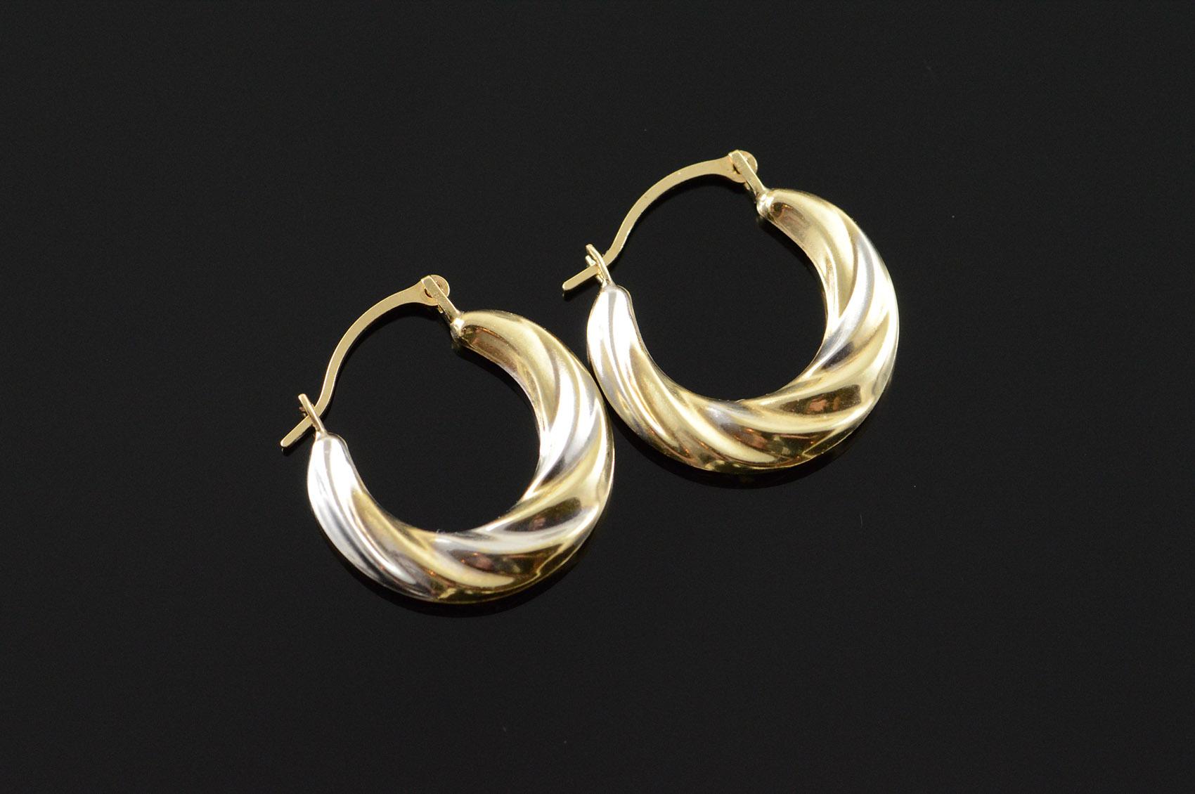 10k Hollow Hoop Twist Ribbed Yellow Gold Earrings Below Whole Cost