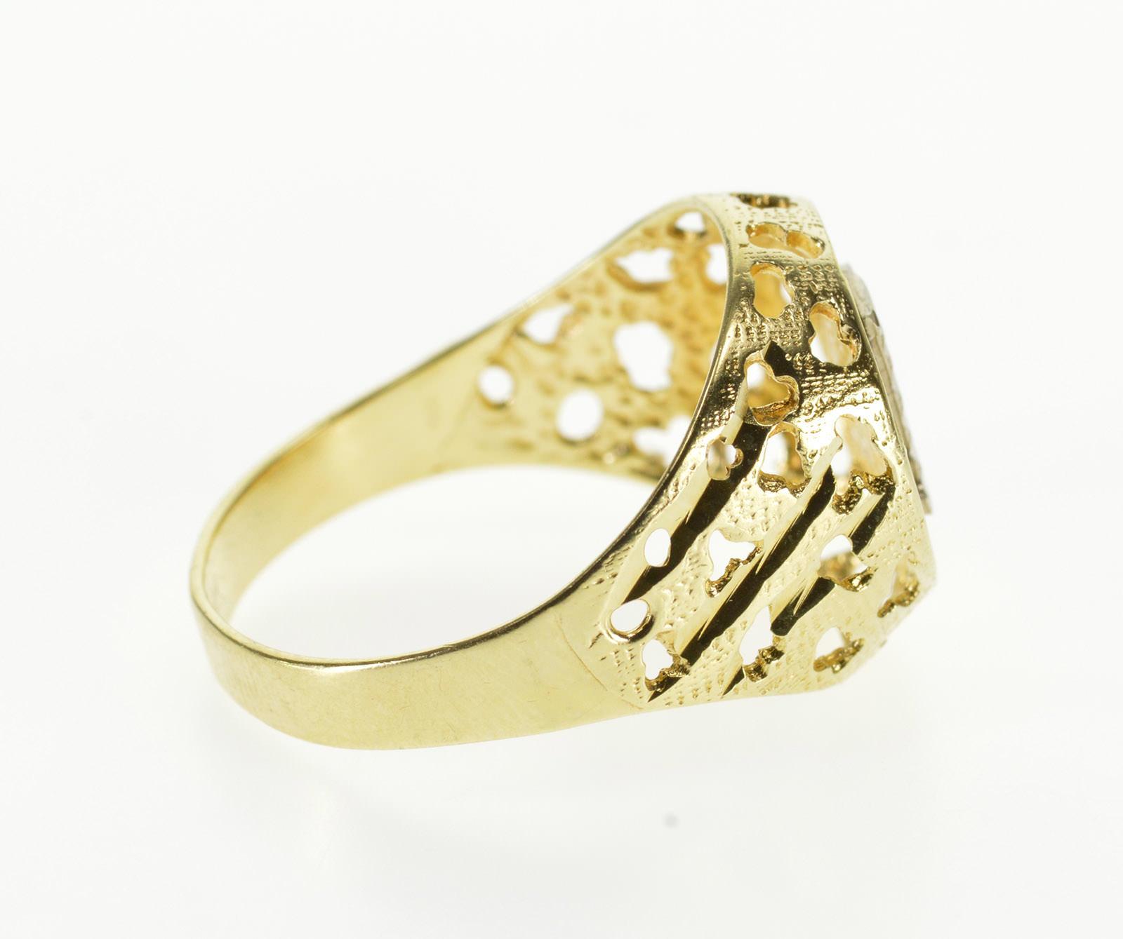 New 14ct Yellow Gold Fancy Cubic Zirconia Lattice Ring Size P
