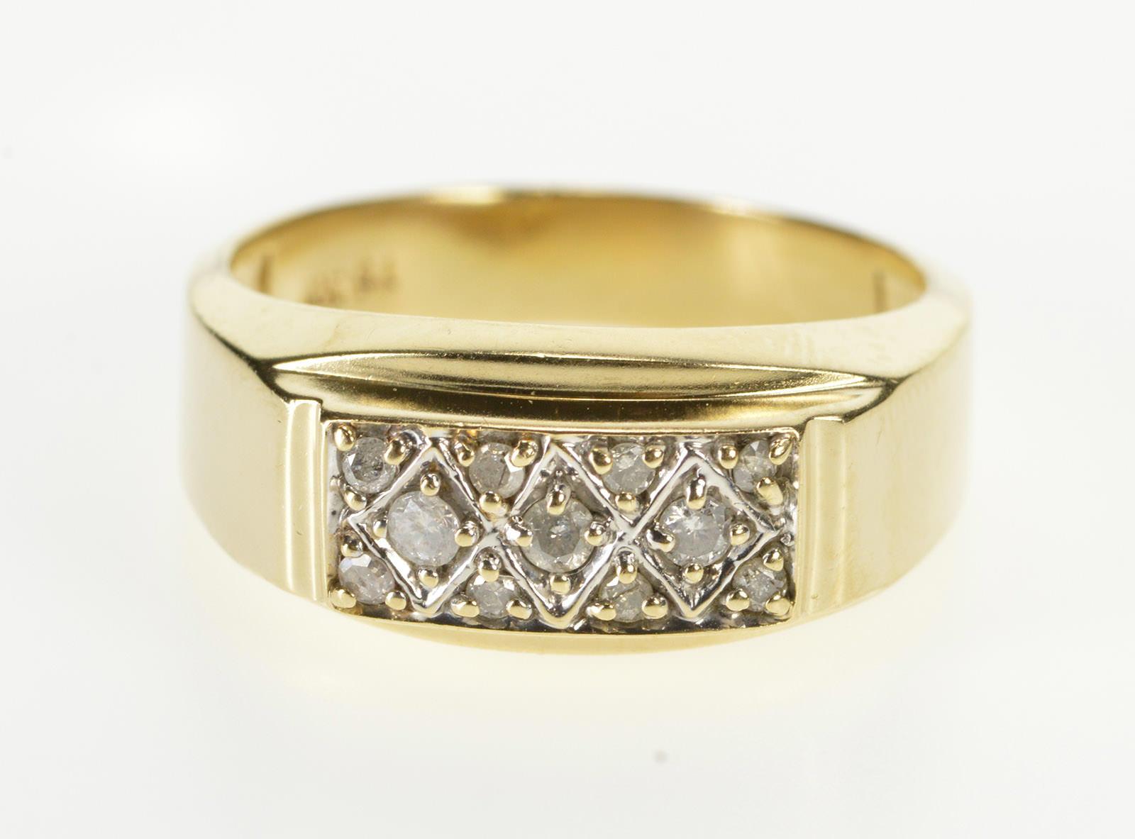 14K Diamond Inset Classic Men/'s Wedding Band Ring Size 10.25 Yellow Gold