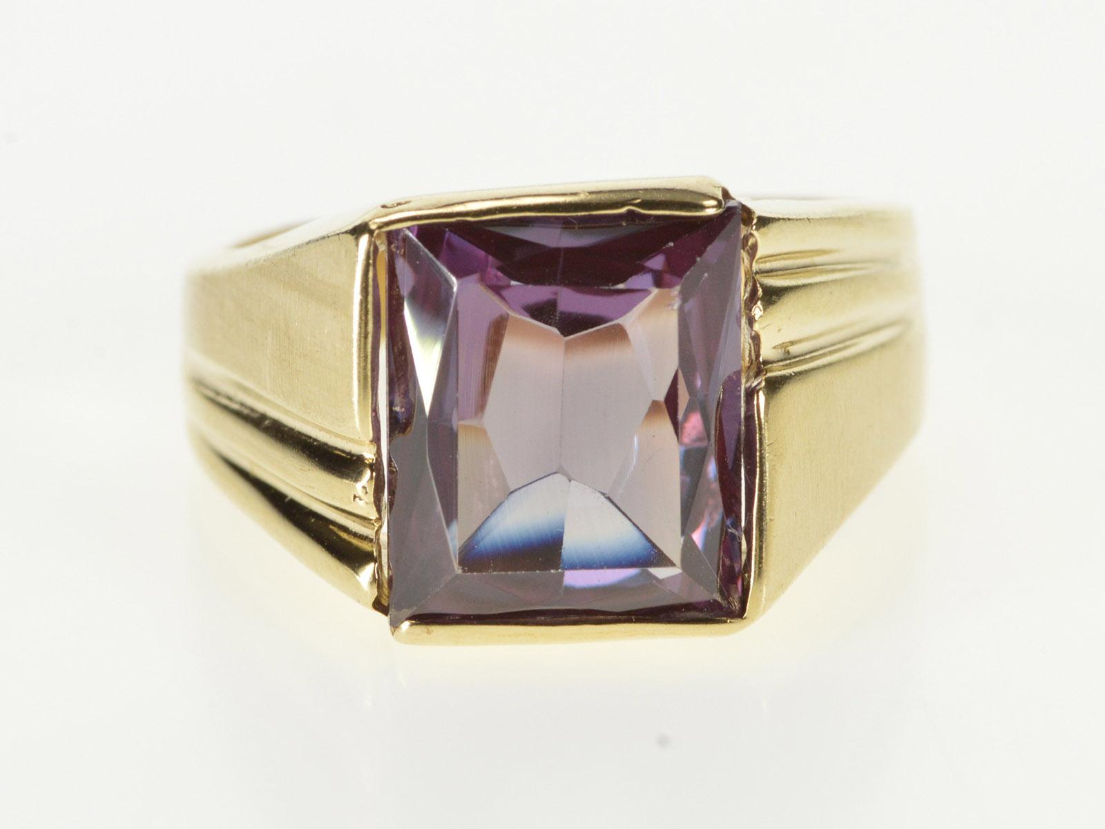 7a417e7bebe28 10K Retro Brilliant Cut Sim. Alexandrite Ornate Yellow Gold Ring ...