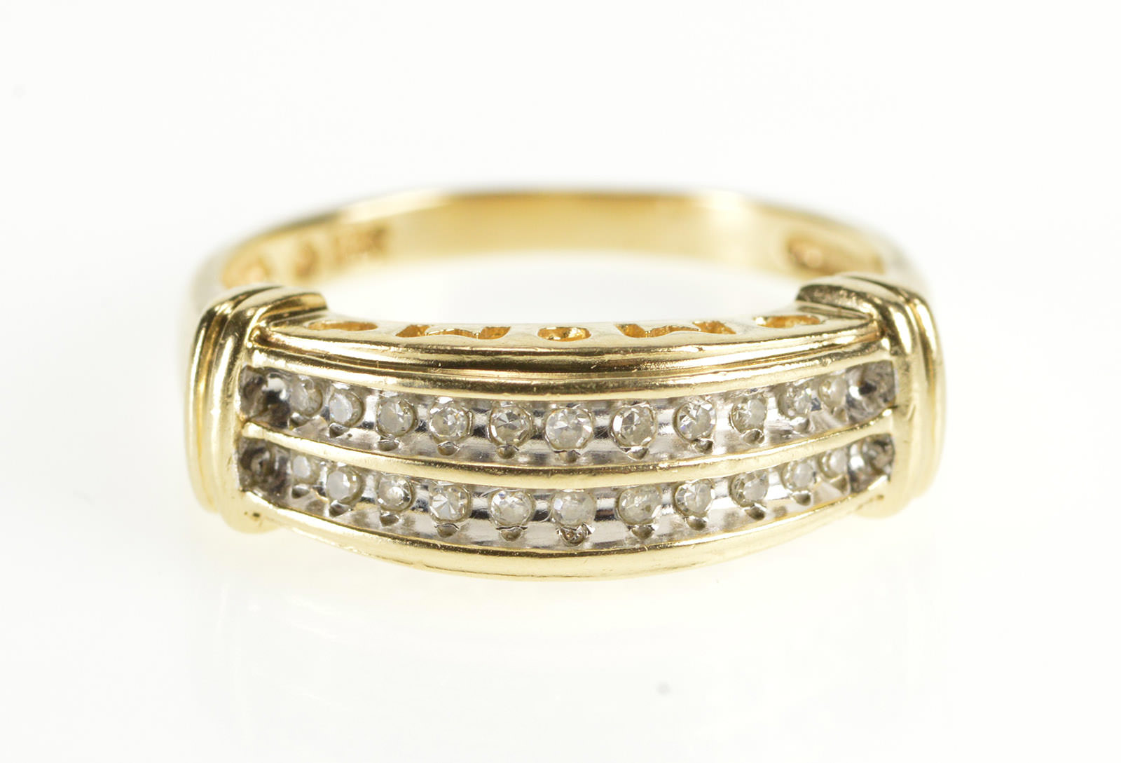 10k or 14k Real Yellow Gold Diamond Accent Heart Love Mom Designer Ring