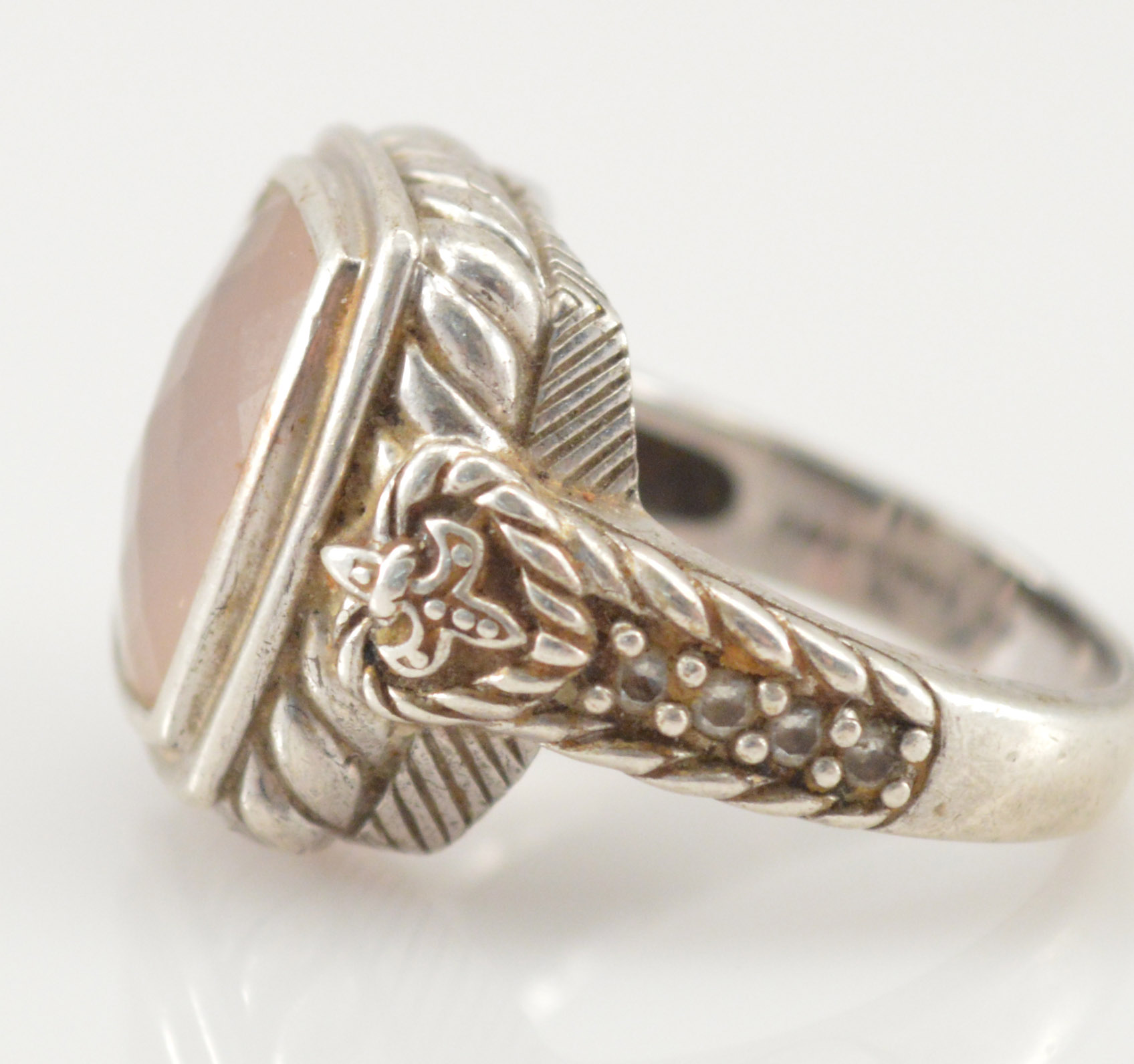 11 6g Solid Silver Retail $285 Judith Ripka Bezel Set Faceted Rose
