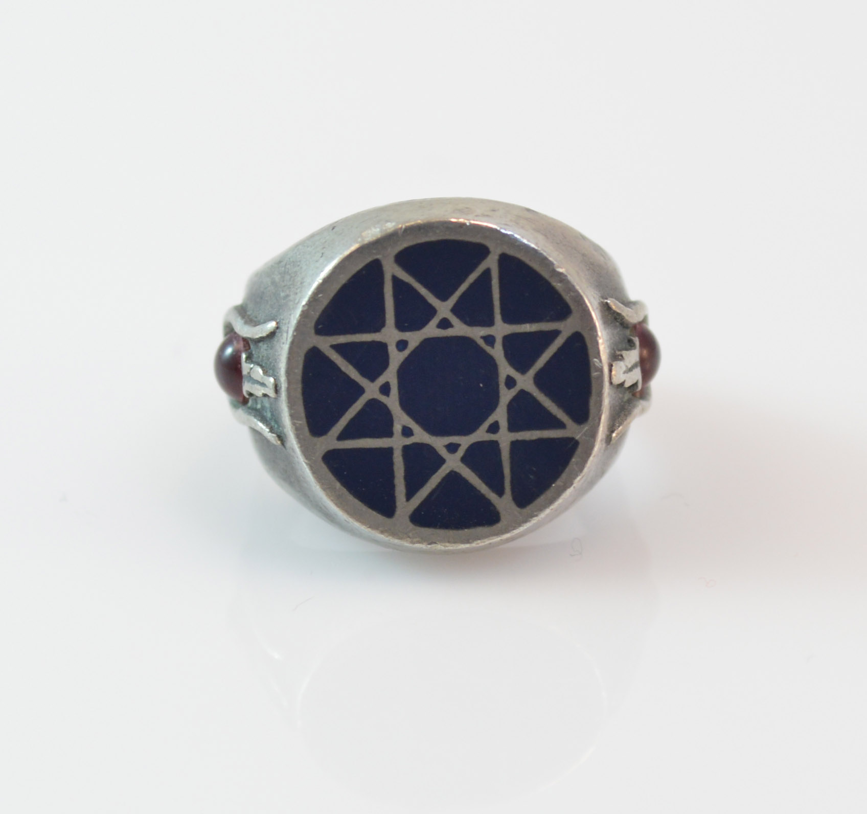 118g Solid Silver Alchemy Symbol Occult Sterling Ring Size 675
