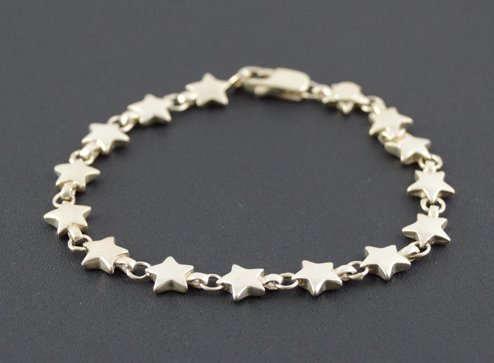 11 8g Solid Silver Tiffany Co Star Link Bracelet 7 25 Sterling Premium Marked 925