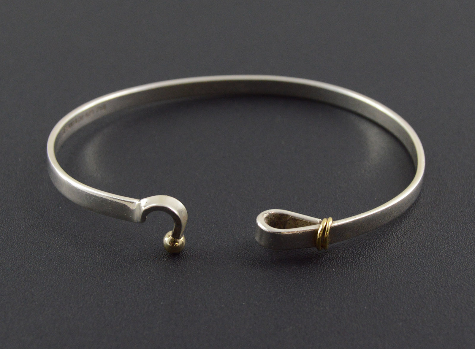 12 6g Solid Silver Tiffany Co Gold Accent Hook Latch Bangle Bracelet 2 3 Sterling Premium Marked 750 925