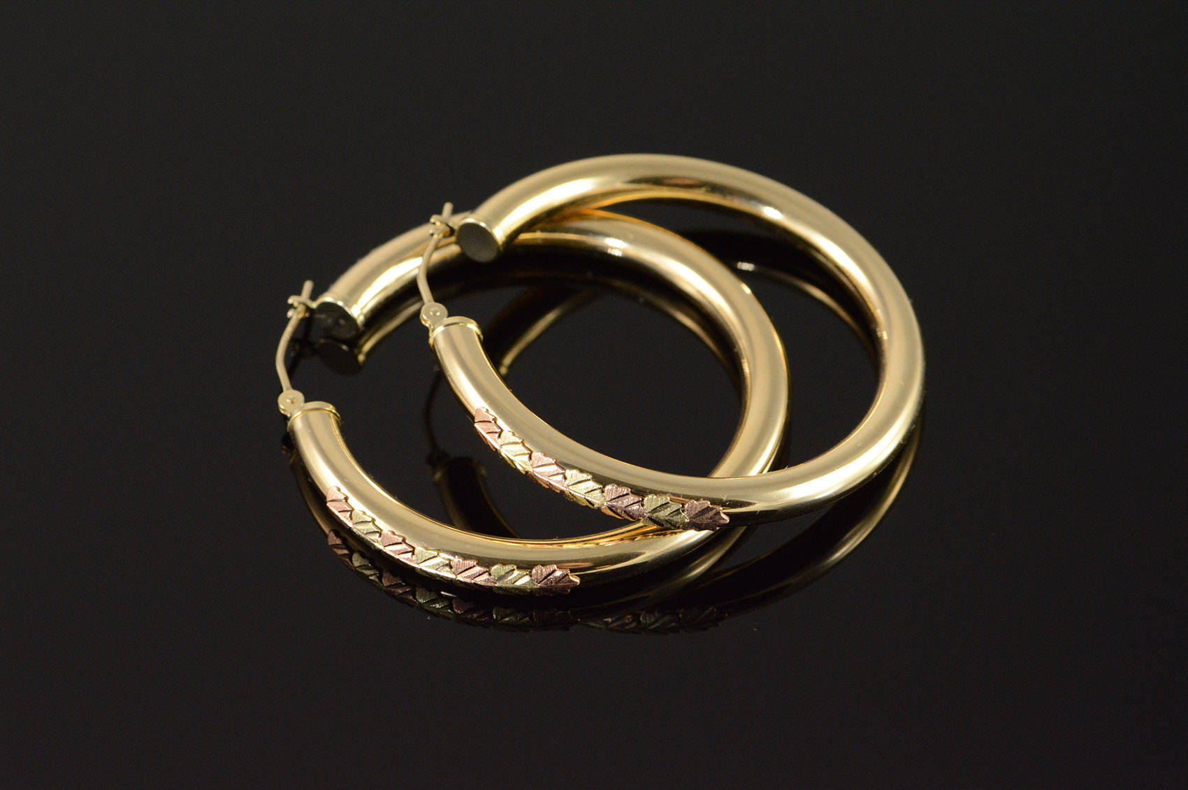 12k 4 1g Black Hills Gold Accented Large Hollow Hoop Yellow Earrings