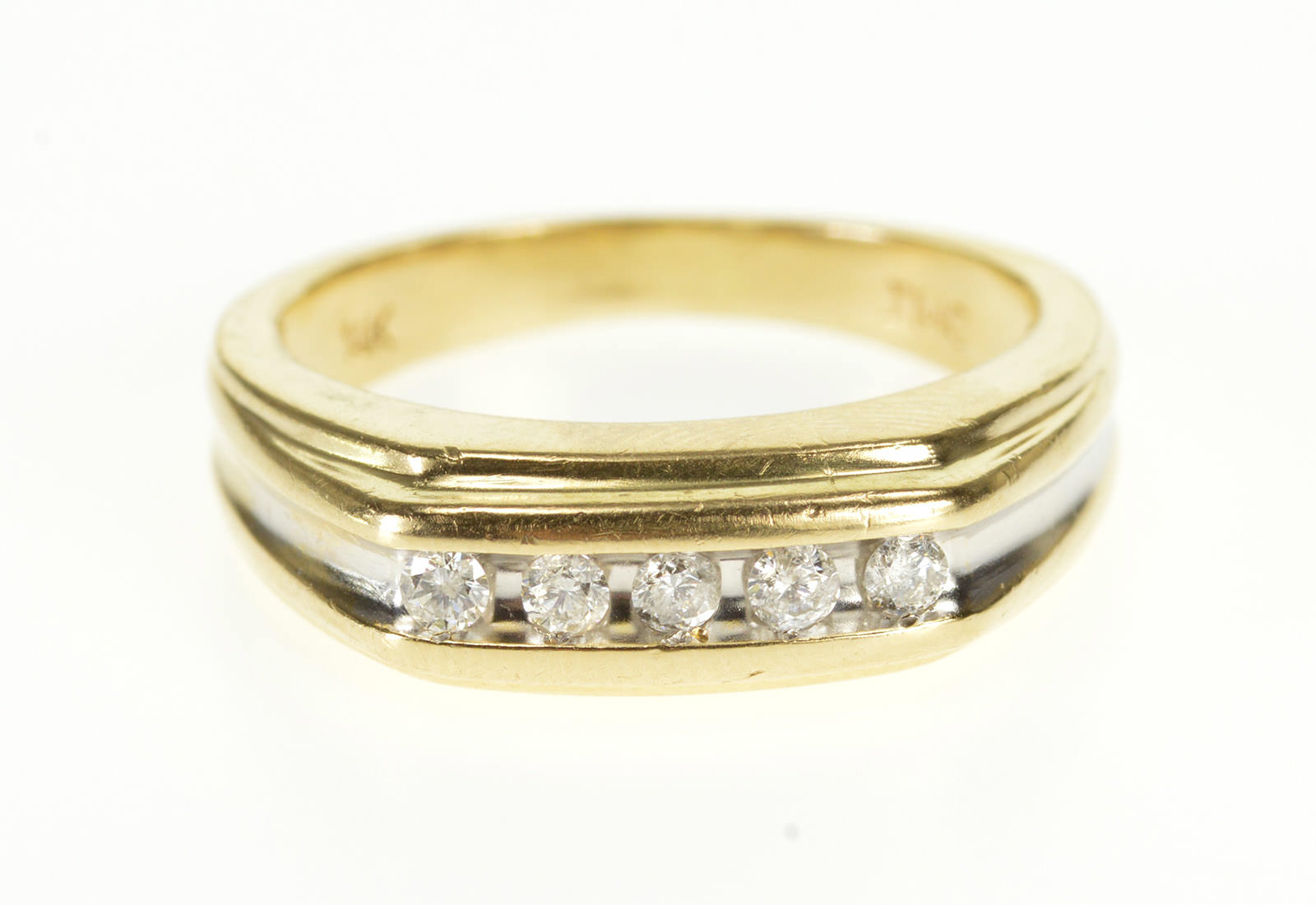 Image 1 Of 4 Free Shipping 14k 0 30 Ctw Channel Inset Diamond Wedding Band Yellow Gold