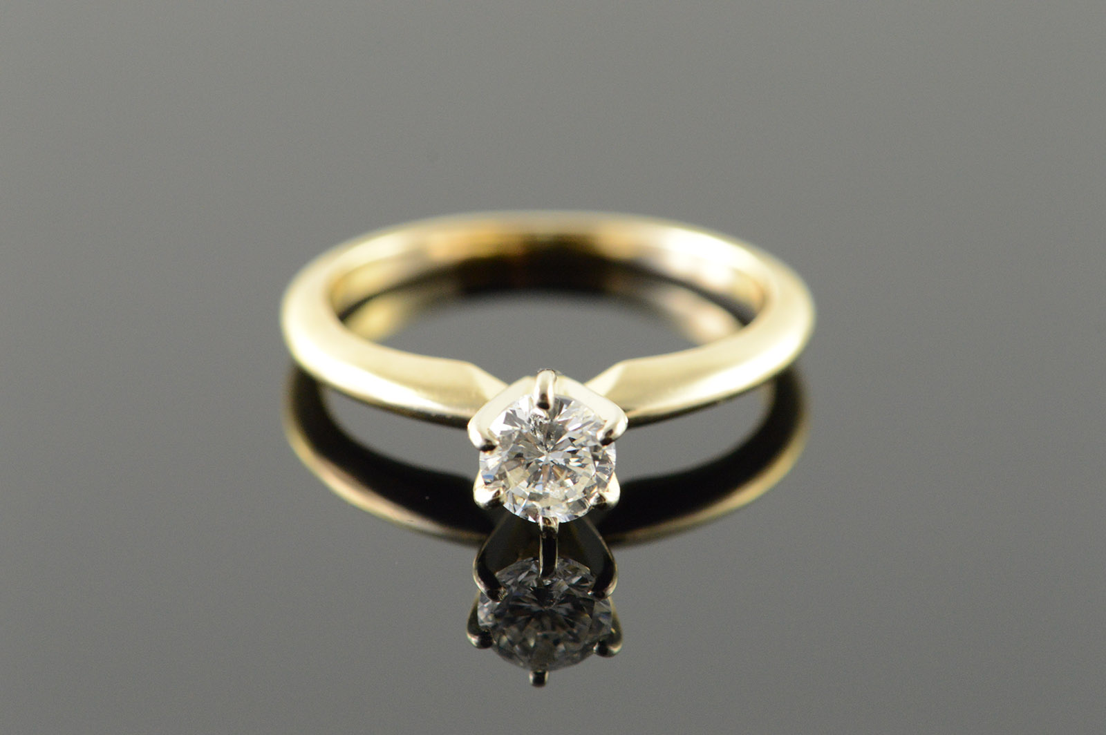 14k 0 38 Ct Diamond Solitaire Engagement Yellow Gold Ring Size 5 75