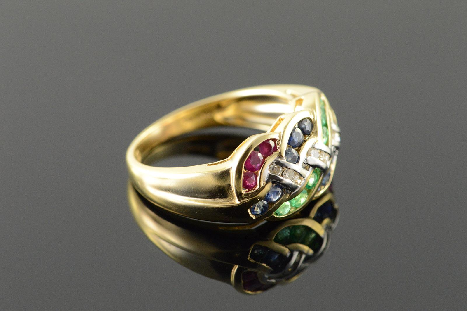 14k 0 75 Ctw Ruby Emerald Sapphire Diamond Woven Band