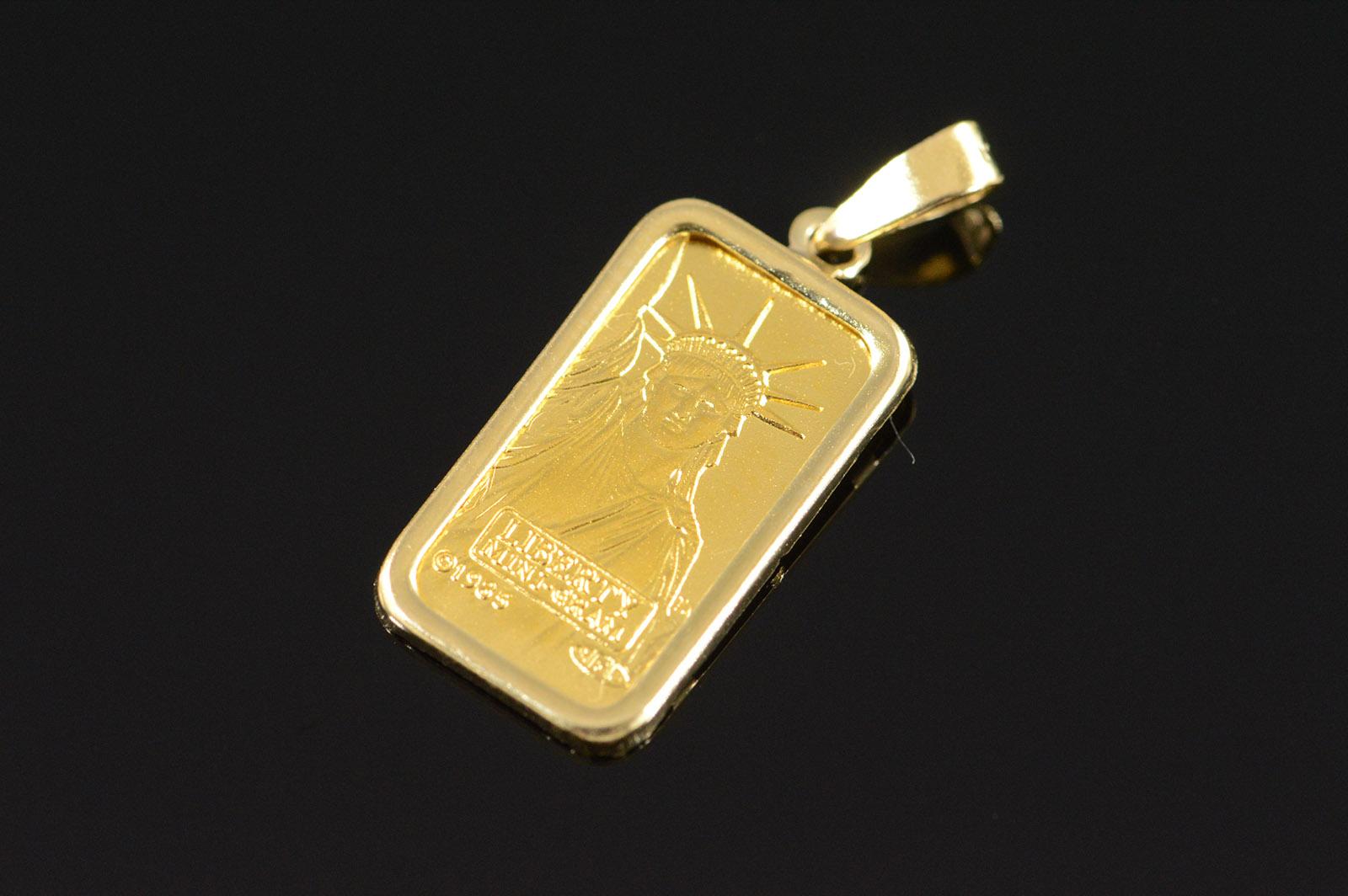14k 13g 1 gram 999 pure gold bar yellow gold pendant property room image 1 of 4 aloadofball Images