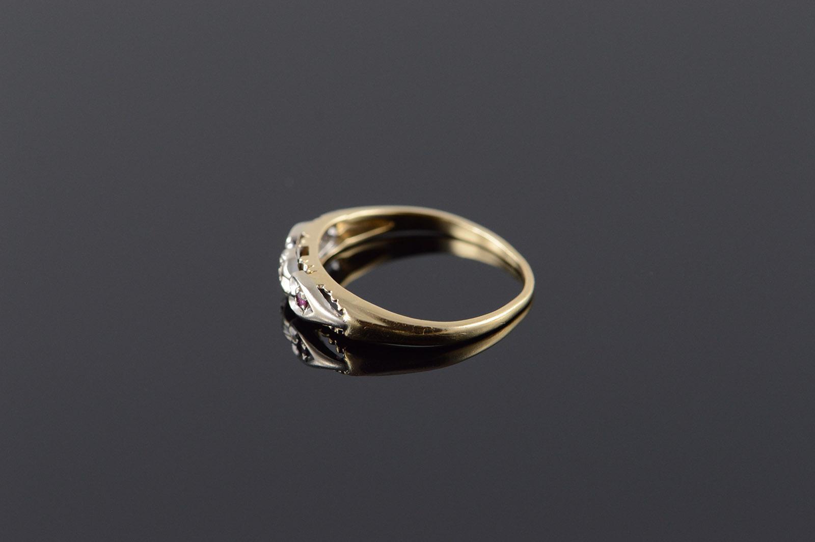 14k 1950 S Genuine Diamond Two Tone Vintage Wedding Band Yellow Gold Ring Size 5 75