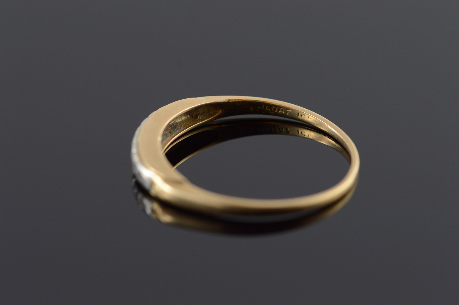 14k 1960 S Vintage Two Tone Wedding Band Yellow Gold Ring Size 6 25