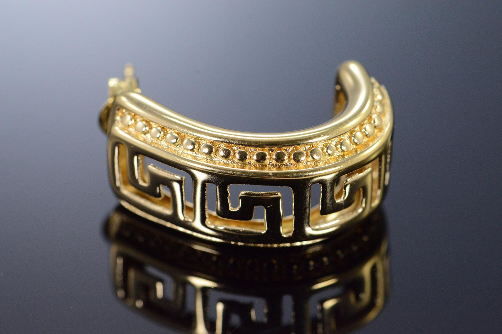 14k 2 4g Greek Key Cut Out Cuff Yellow Gold Earrings