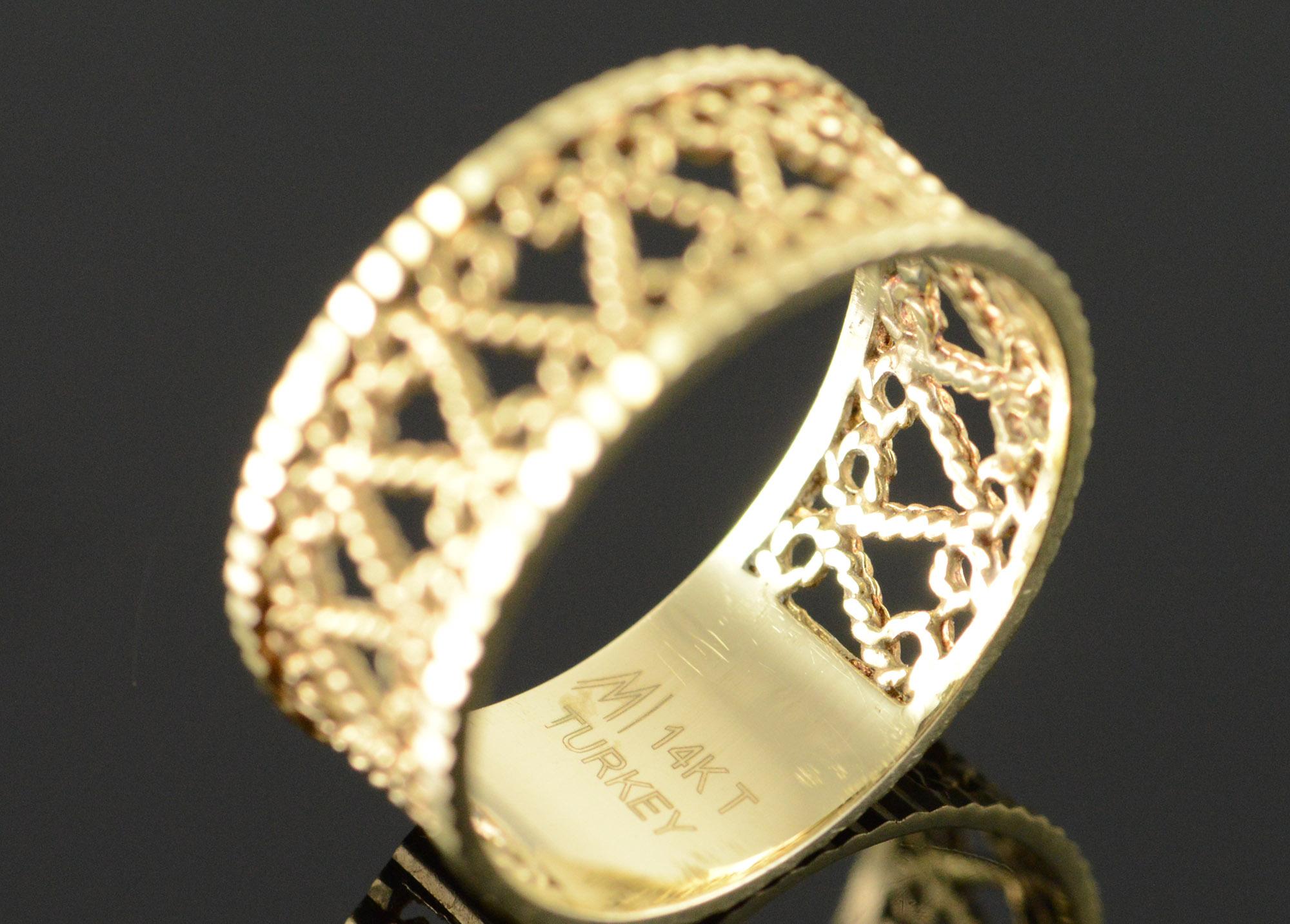 14k 2 8g Rope Scroll Wedding Band Filigree Yellow Gold