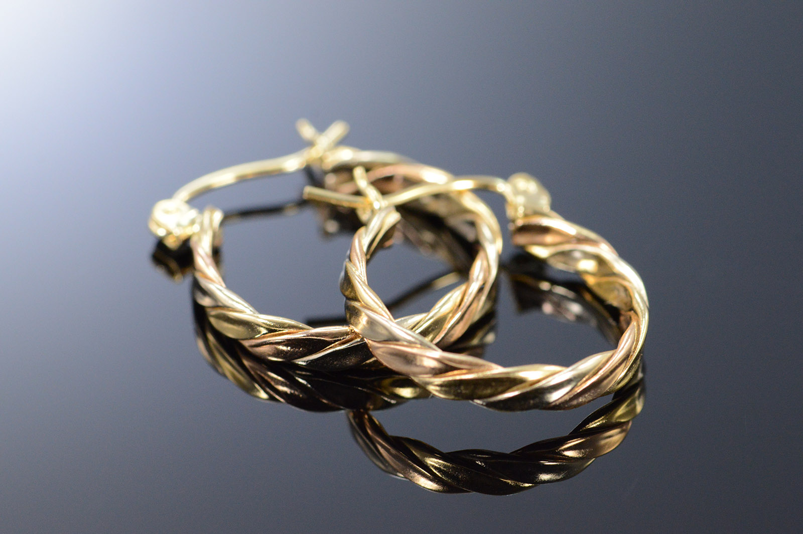 14k 2g Twist Hoop Tri Color Gold Earrings
