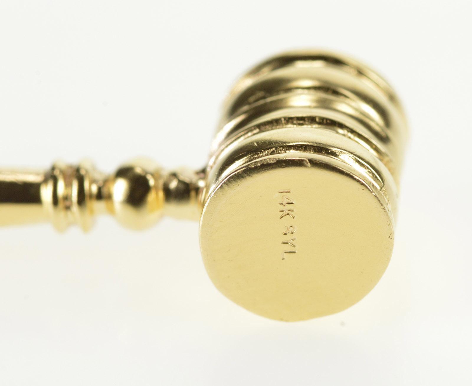 14K Yellow Gold 3D Gavel Charm Judge Court Jewelry