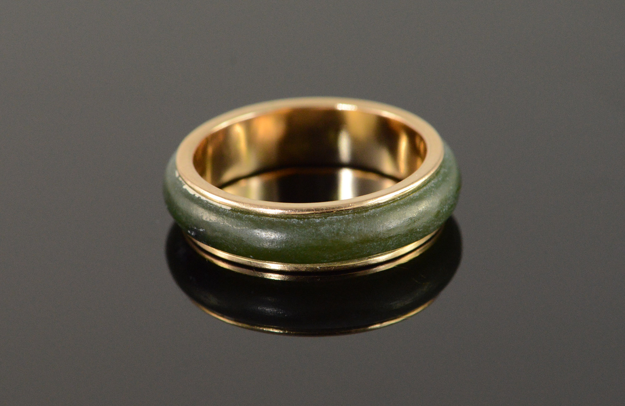 14k 3g Vintage Jade Outlined Wedding Band Yellow Gold Ring Size 6 75