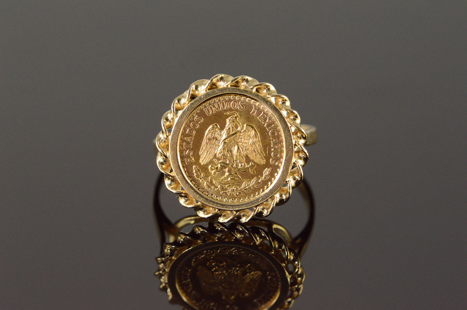 14k 4 3g 1945 2 Peso Mexico Mexican Coin Rope Bezel Yellow Gold Ring Size 7