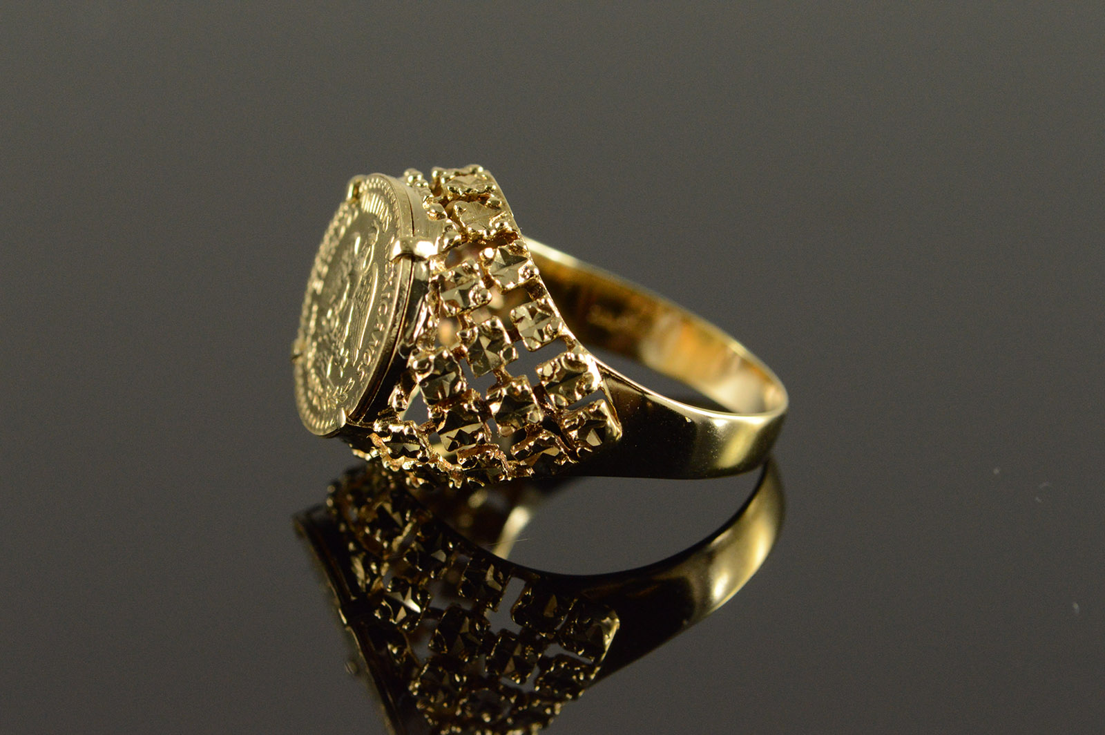 14k 4 6g 1915 Mexican 2 Peso Yellow Gold Ring Size 6 75