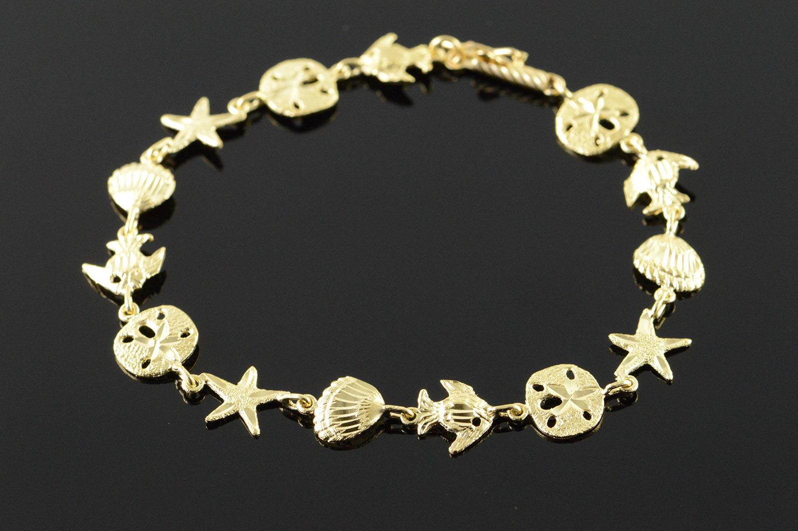 3efaa6168eb 14K 4.9g Fish Starfish Sand Dollar Ocean Beach Sea Yellow Gold ...