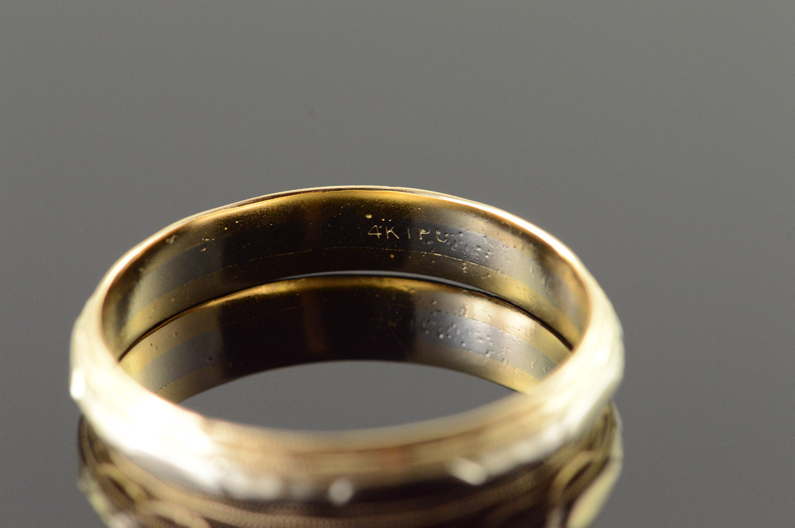 14k 4 9mm Decorative Engraved Two Tone Wedding Band Men S