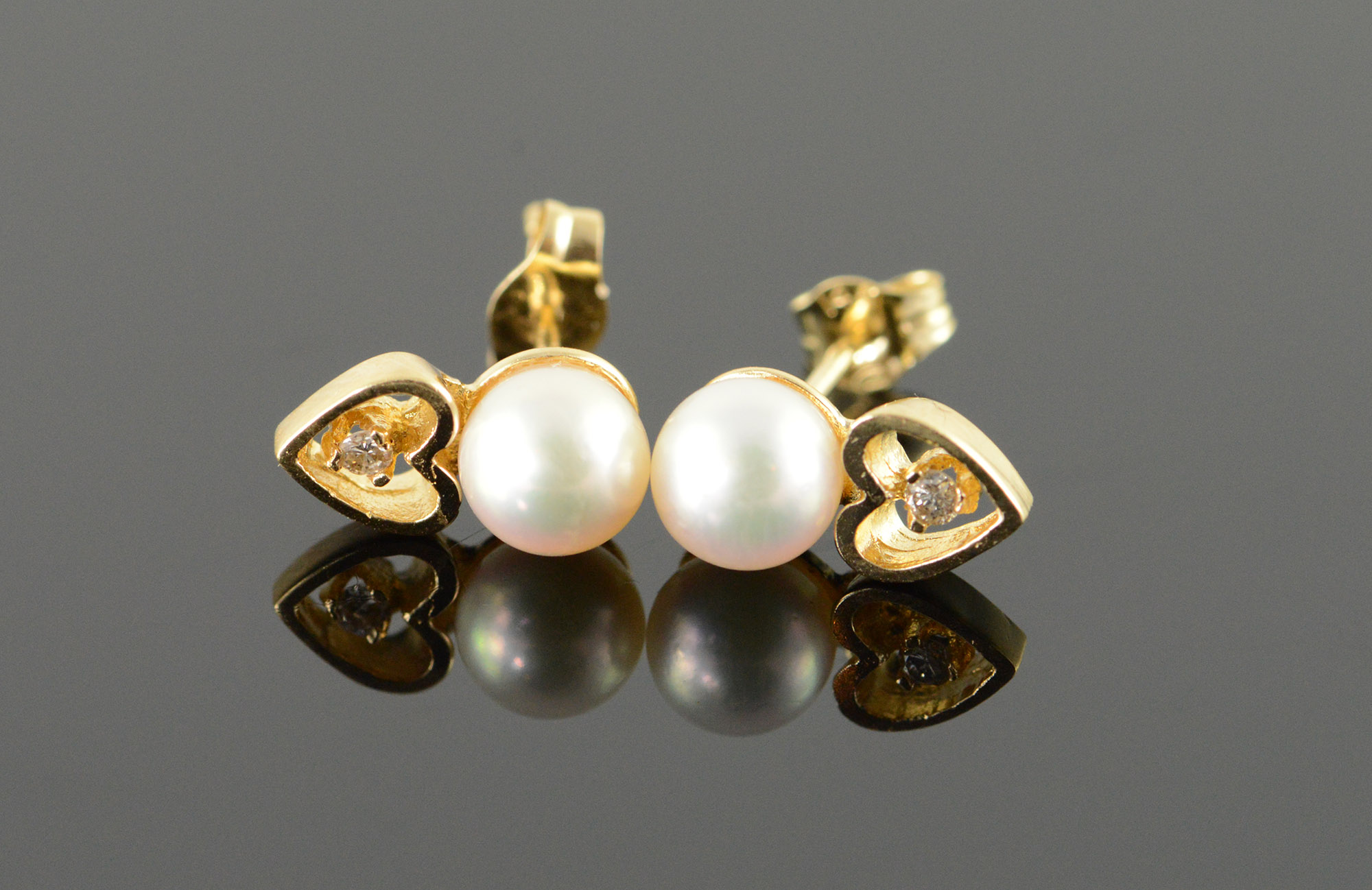 14k 5 5mm White Pearl Diamond Accented Heart Stud Yellow Gold Earrings Below Whole Cost