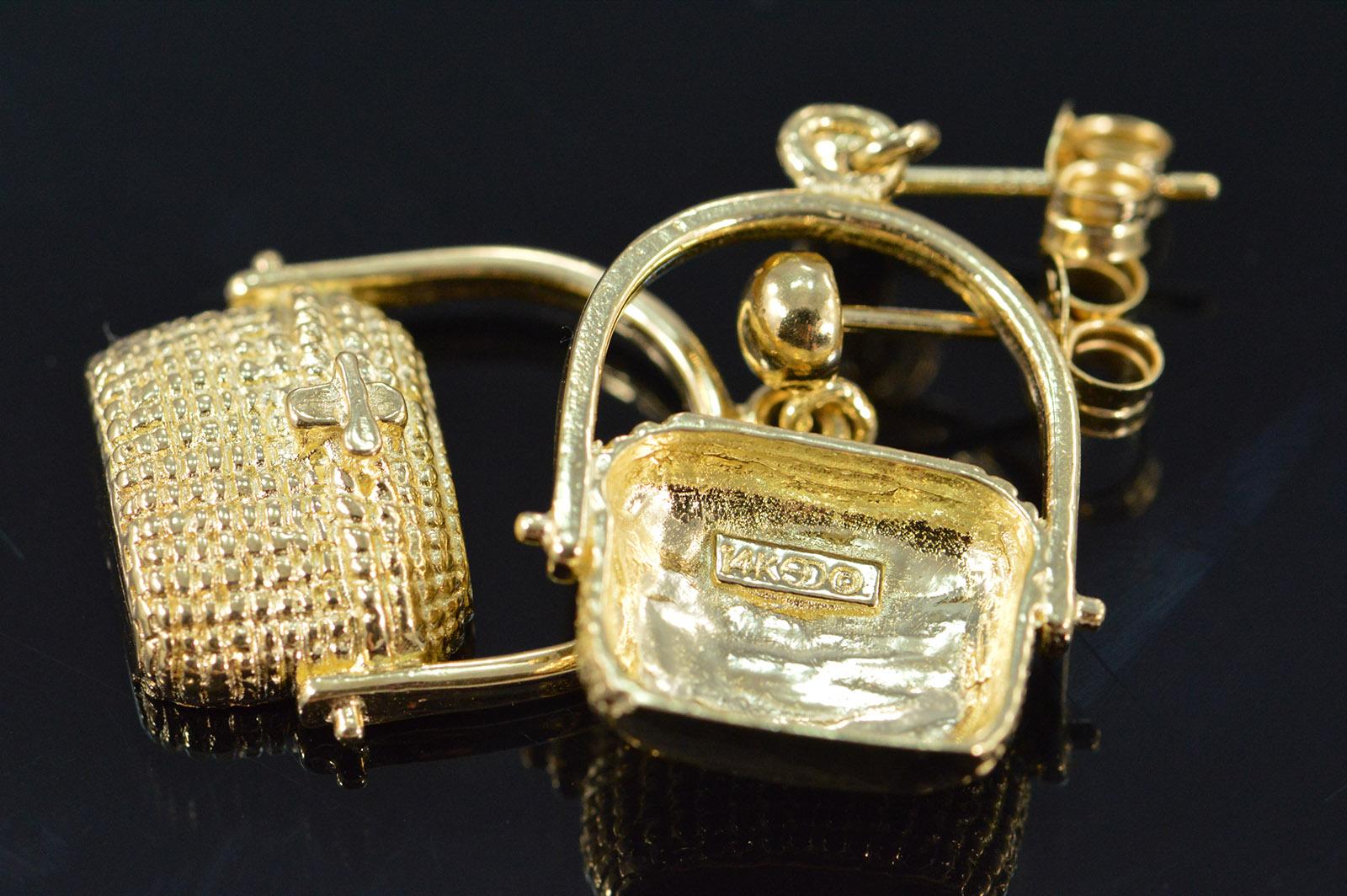 14k 5 6g Nantucket Basket Yellow Gold Earrings