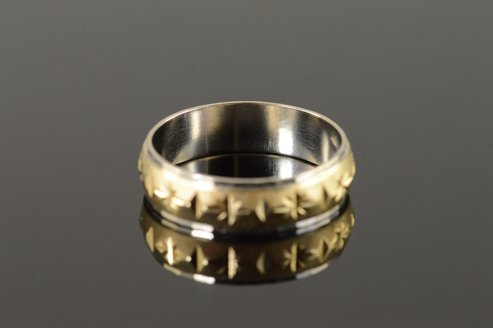 14k 58g engraved diamond star two tone mens wedding band