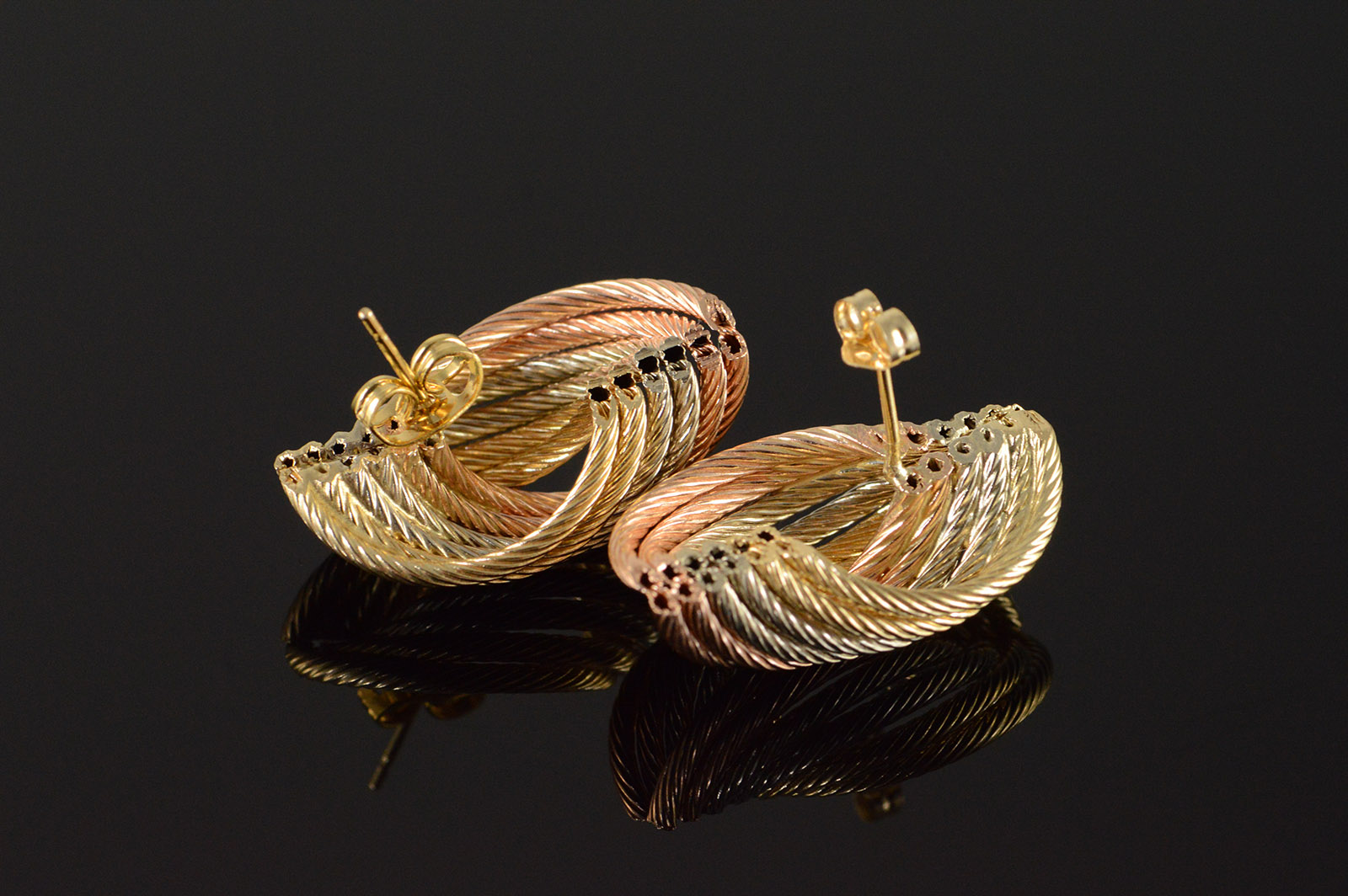 14k 5 9g Knot Twist Rope Tri Color Stud Yellow Gold Earrings