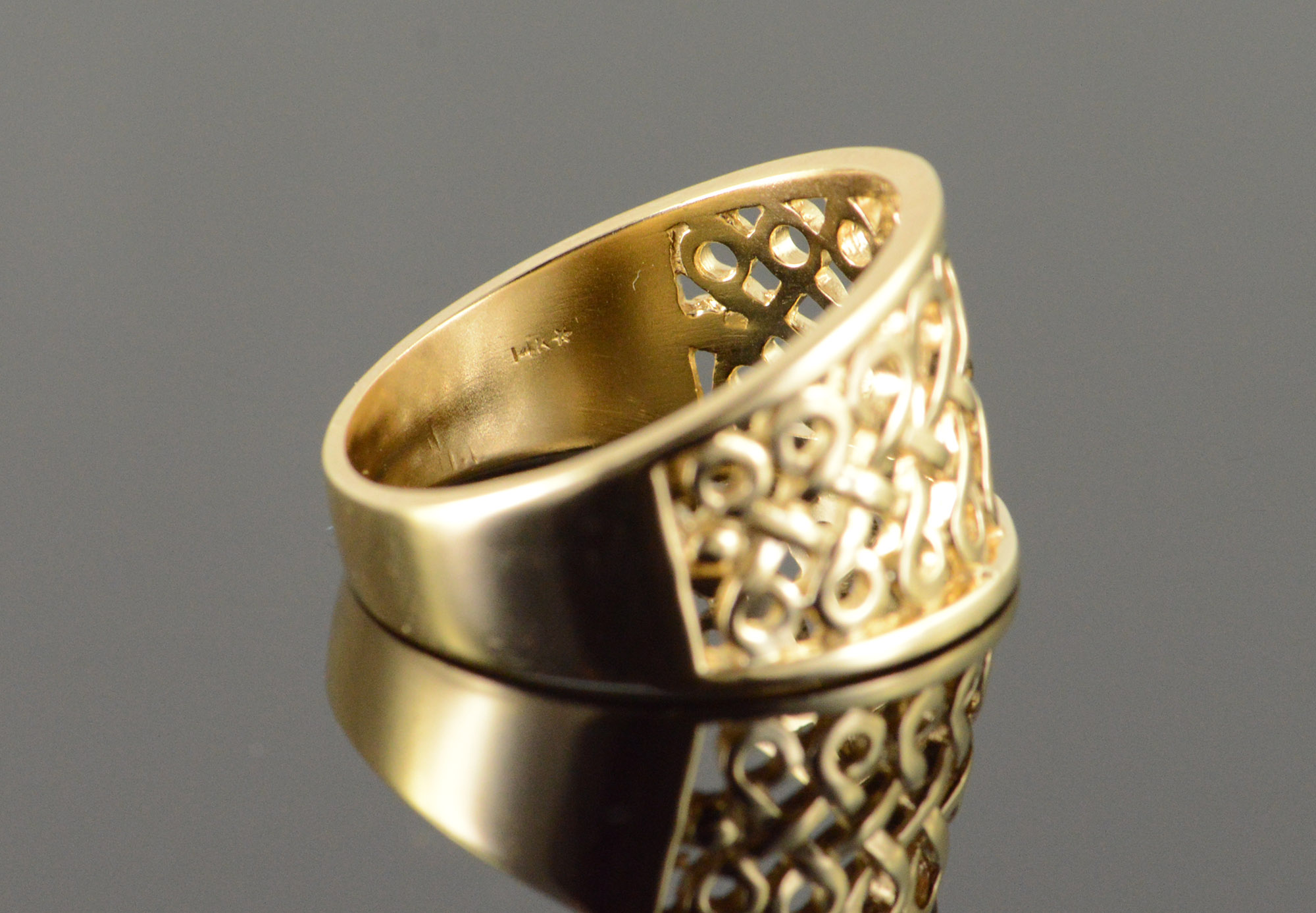 14K 6 2g Celtic Knot Filigree Band Yellow Gold Ring Size 8 5
