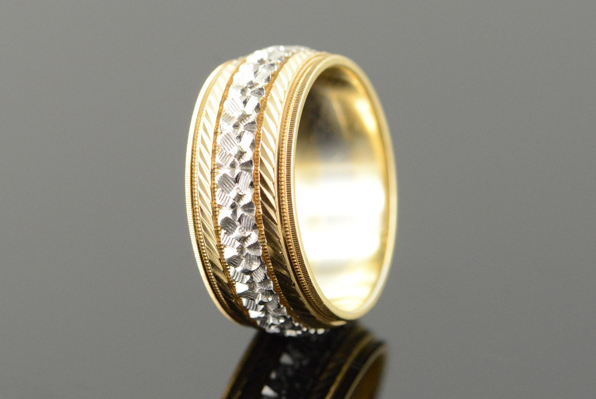 14k 6 3g Orange Blossom Two Tone 8mm Keepsake Vintage Wedding Band Yellow Gold Ring Size 25