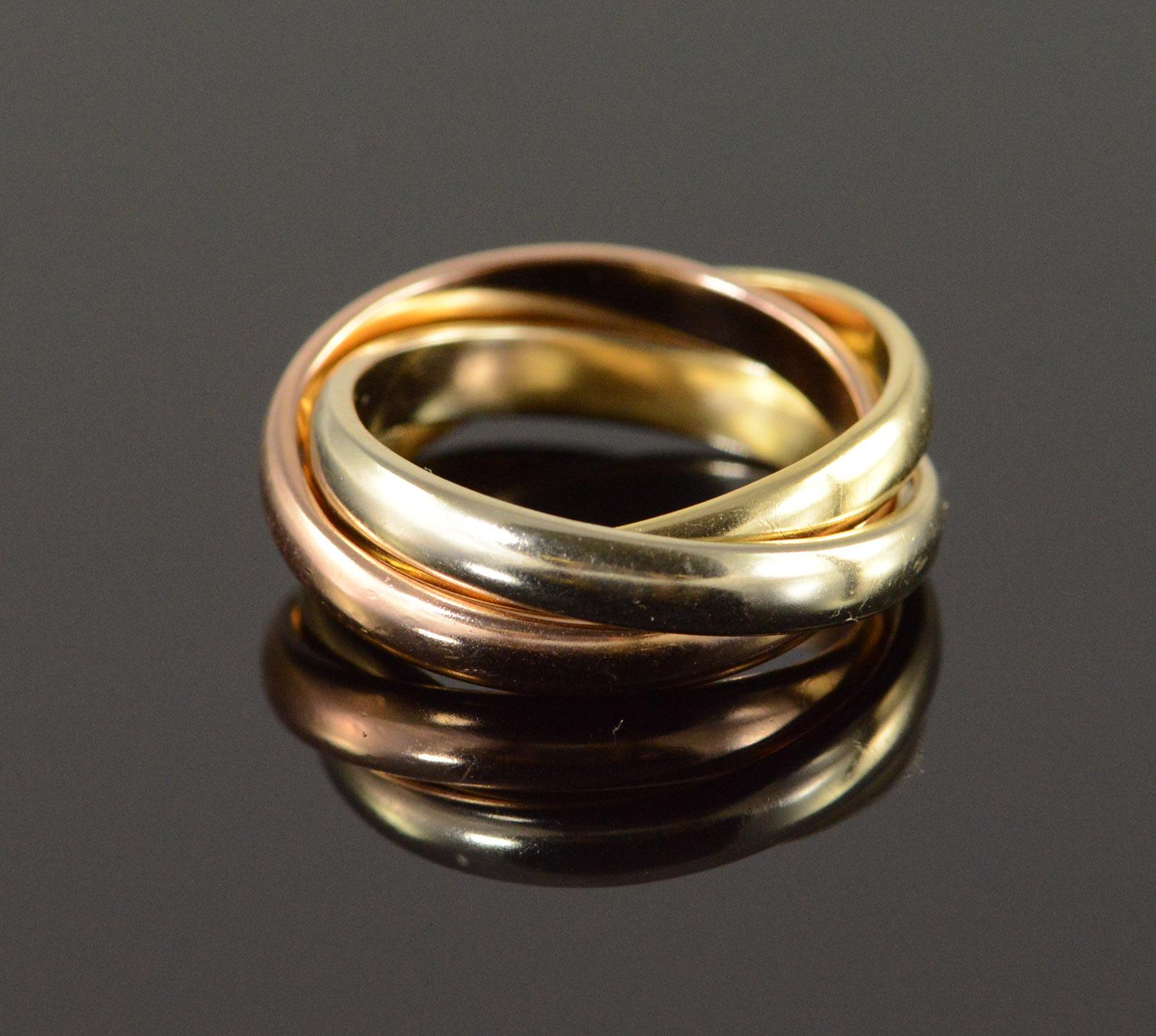 294b35a14 Image 1 of 4. 14K 6.3g Tri Color 3 Interlocking Wedding Band Yellow Gold ...