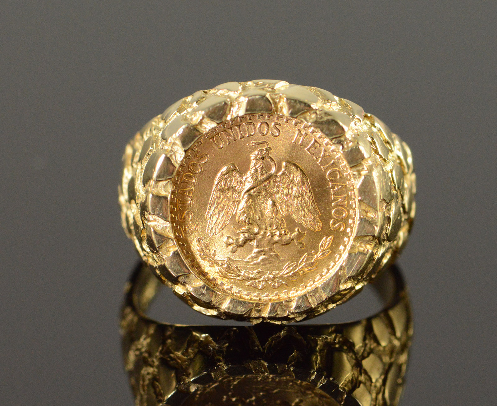 14k 6 9g 1945 Mexican 2 Peso Nugget Yellow Gold Ring Size 75