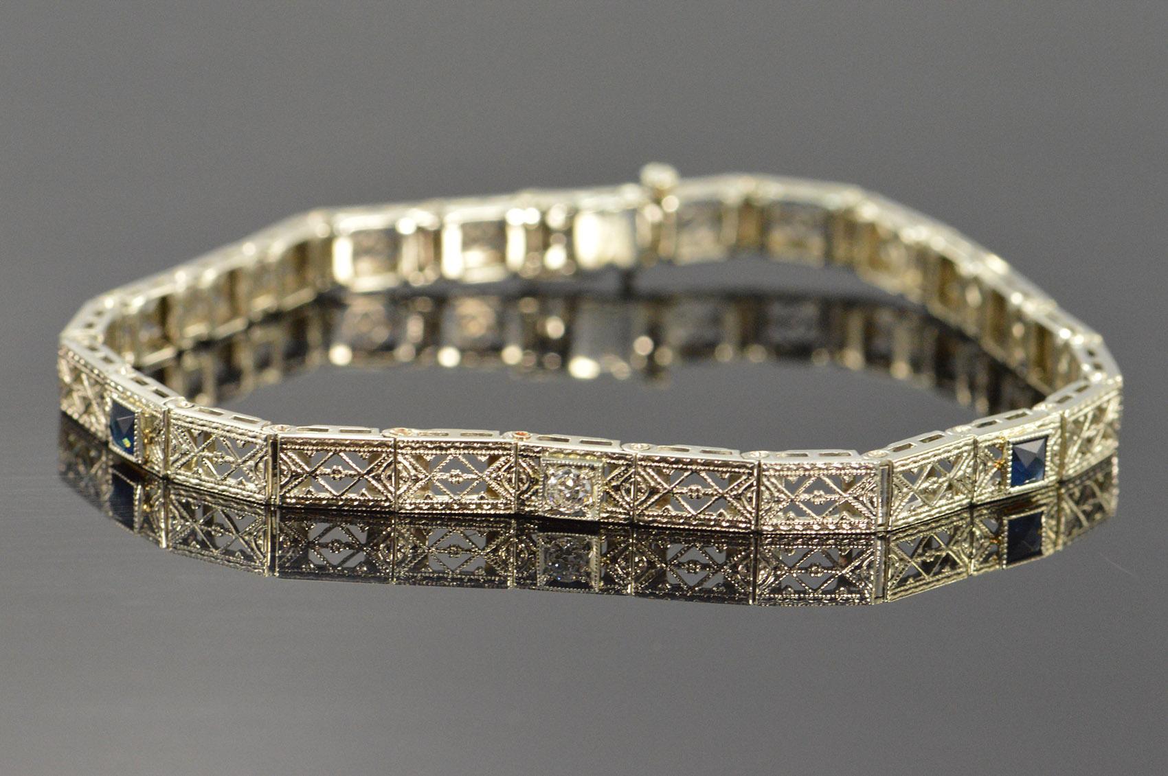 14k 7 5g Antique 0 46 Ctw Filigree Mine Cut Diamond Shire White Gold Bracelet 5