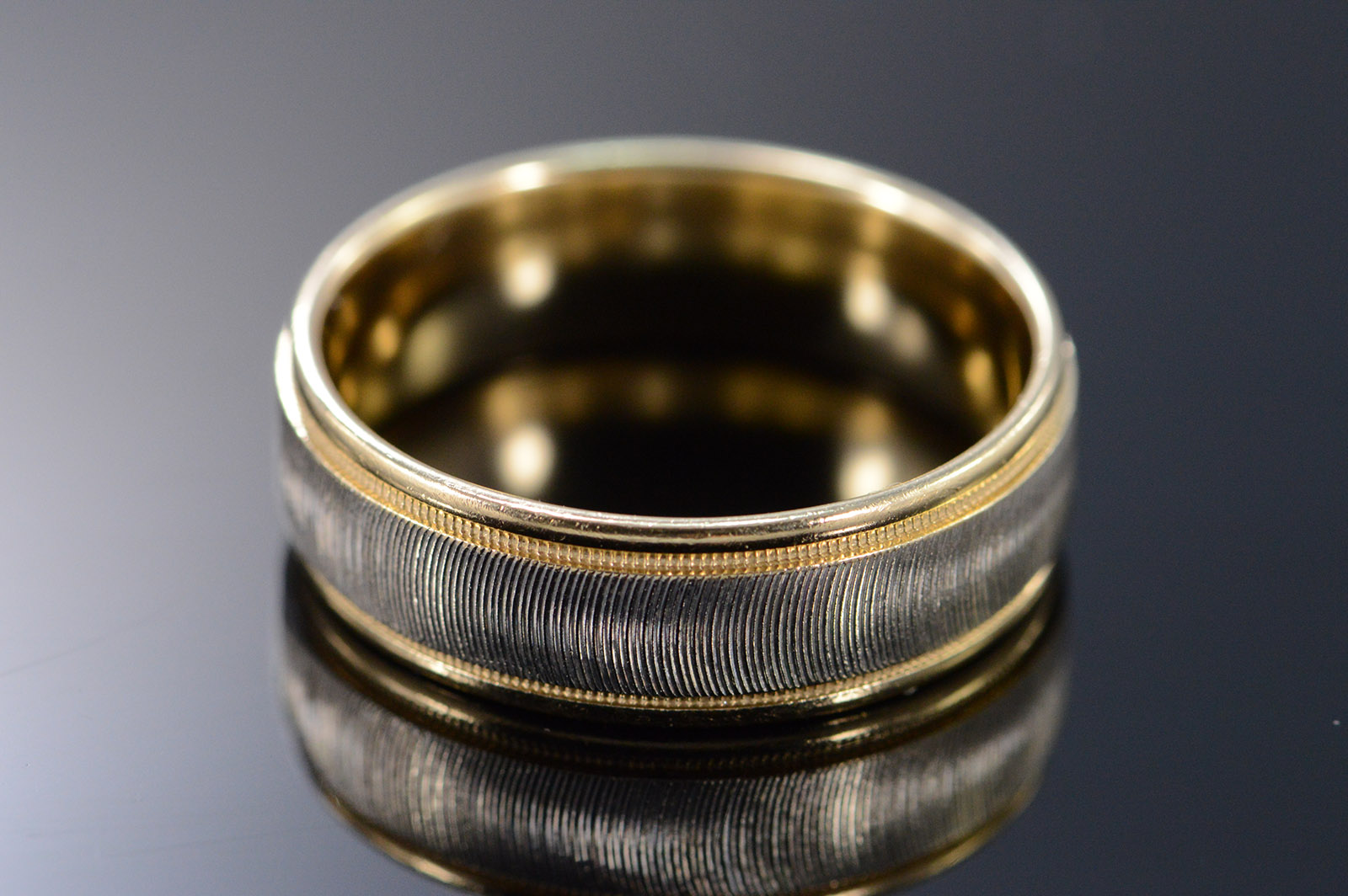 14k 7mm Two Tone Textured Men S Wedding Band Yellow Gold
