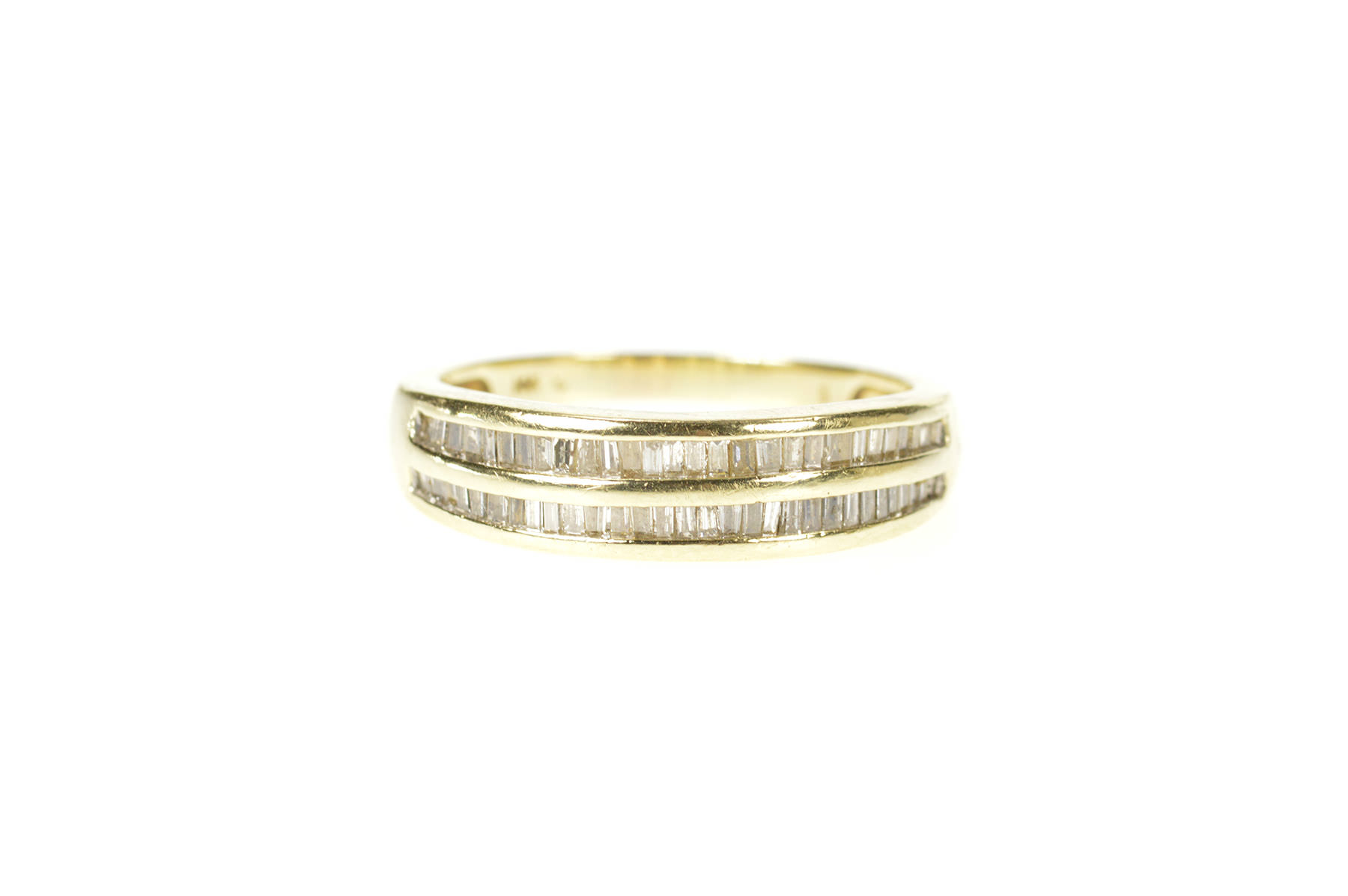 14K Two Tone Diamond Channel Inset Wedding Band Ring Size 7.75 Yellow Gold