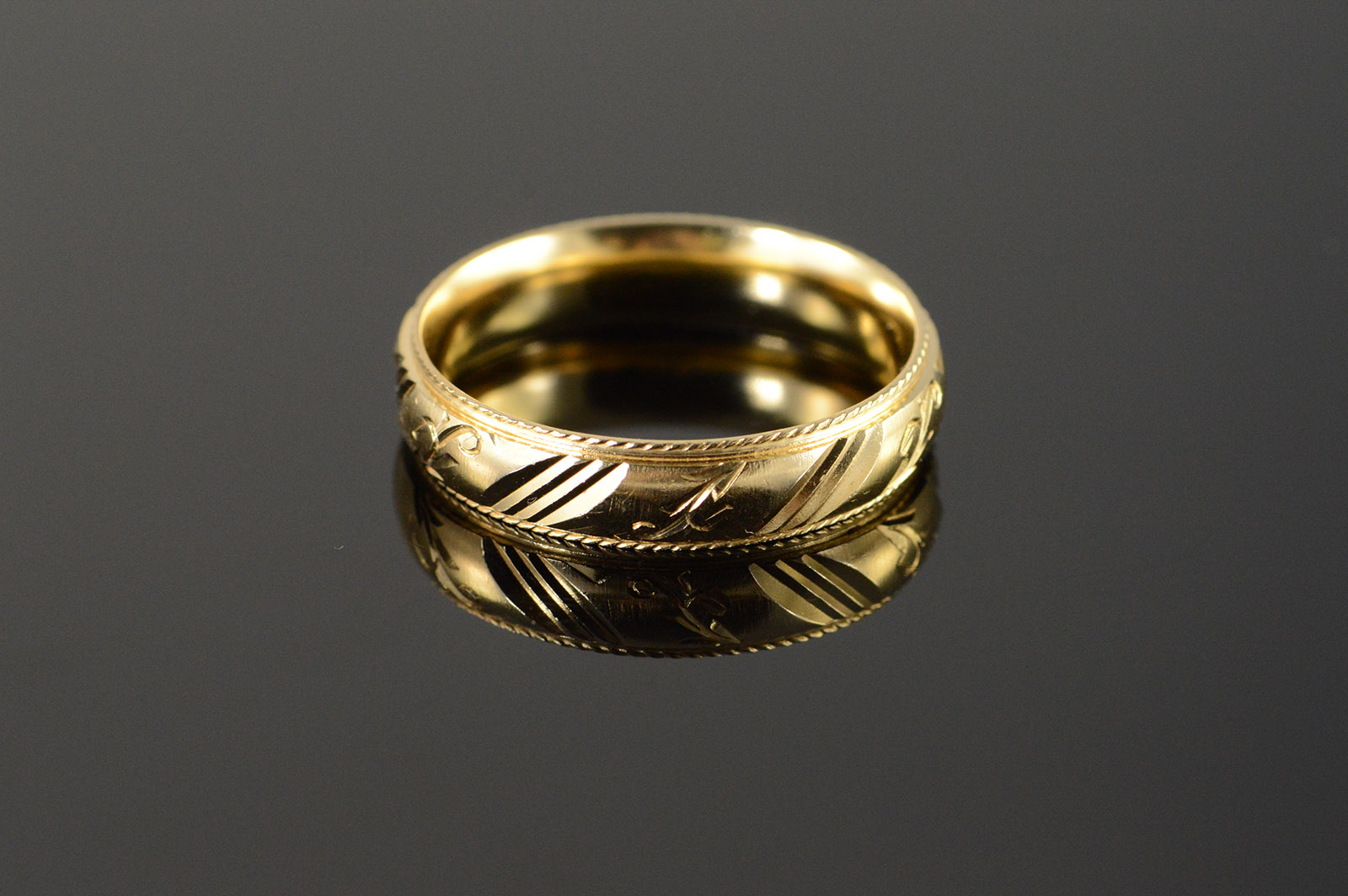14k Beautiful Carved Engraved Fancy Wedding Band Men S Yellow Gold
